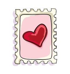 Red heart postage stamp vector