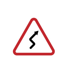 red triangle sign winding road isolated on vector image