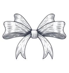 Ribbon bow black hand drawn sketch vector