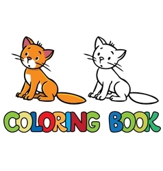 Sad sitting cat Coloring book vector