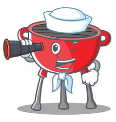 Sailor barbecue grill cartoon character vector