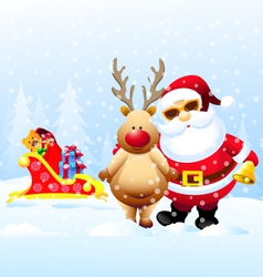 Santa and Rain Deer with Christmas Gifts vector image