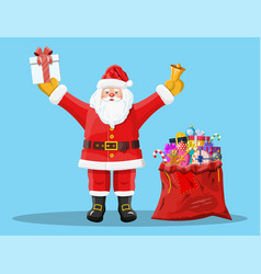 santa claus with red bag with presents gift boxes vector image
