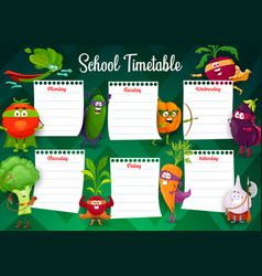 school timetable template with superhero vegetable vector image