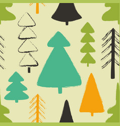seamless pattern with forest trees vector image