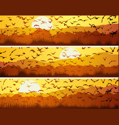 set horizontal banners with flock birds at vector image