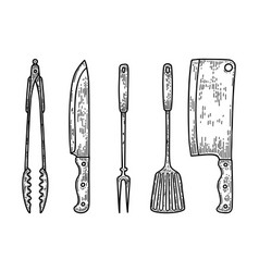 set kitchenware in engraving style kitchen vector image