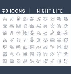 Set line icons night life vector