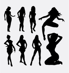 Sexy female action silhouette vector