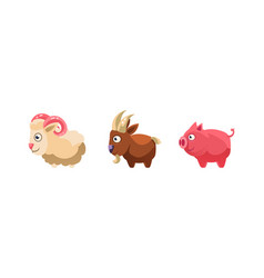 Sheep goat and pig funny cartoon farm animals vector