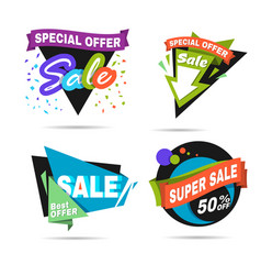 Special offer sale banner discount price label vector