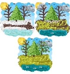Spring round pixels art vector