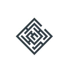 square maze concept logotype template design vector image