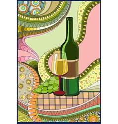 Stained-glass window Wine vector