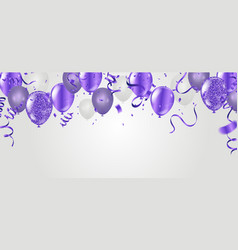 stock party flying purple realistic balloons vector image