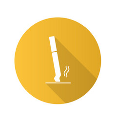 Stubbed out cigarette flat design long shadow vector