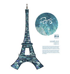 Stylish paris eiffel tower vector