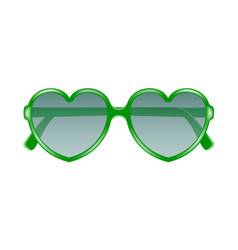 sun glasses in shape of heart in green design vector image