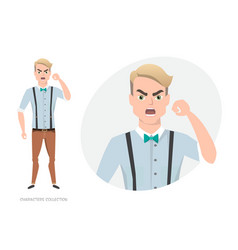the evil man threatens with his hand vector image