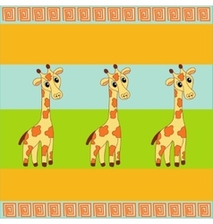 Three giraffe background vector