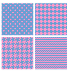 tile pattern set with pink print blue background vector image