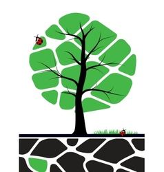 Tree with green leafs vector image