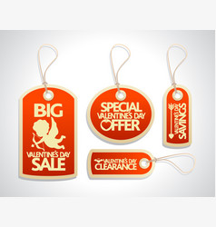 valentines day sale tags set red vector image