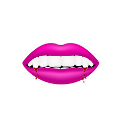 Vampire mouth in pink design with bloody teeth vector