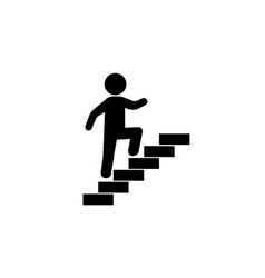 Walk up stairs symbol black vector