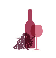 wine glass logo wine bottle with grapes on white vector image