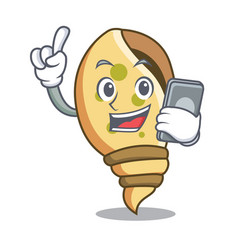 With phone sea shell character cartoon vector