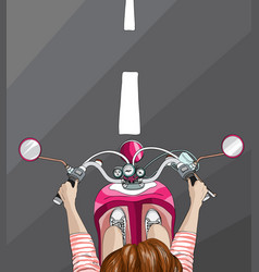 Woman on bike top view vector