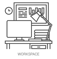 Workplace line infographic vector image