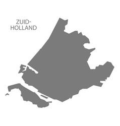 Zuid-holland netherlands map grey vector