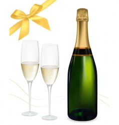champagne with glasses and bows vector image