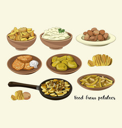 food from potatoes vector image vector image