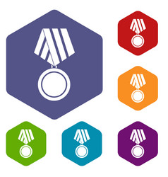 military medal icons set vector image