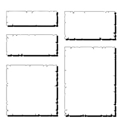 set of white ripped old paper frame with shadow vector image