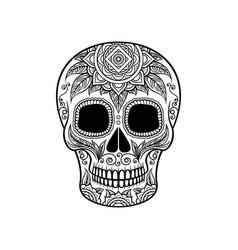 sugar skull with floral ornament dia de muertos vector image vector image