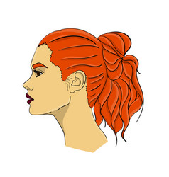 a woman with long red hair in profile hair from vector image