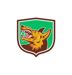 Angry Wild Dog Fangs Side Shield Retro vector image vector image