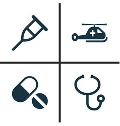 antibiotic icons set collection of review stand vector image