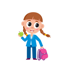 cute little girl with backpack dressed for school vector image vector image