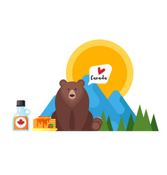 Flat style of canadian maple syrup and bear vector