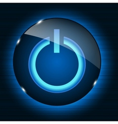 Glass power button icon on abstract background vector image