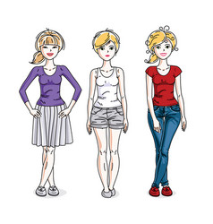 Happy pretty young women standing wearing casual vector