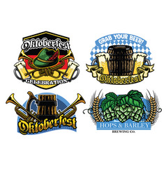 oktoberfest badge design collection vector image vector image