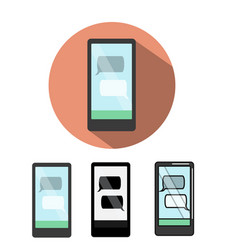 smartphone icon with text messenger on screen vector image