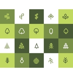 Tree icons Flat style vector image vector image