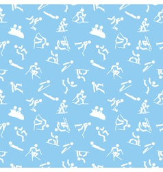 pattern with winter sports icons vector image